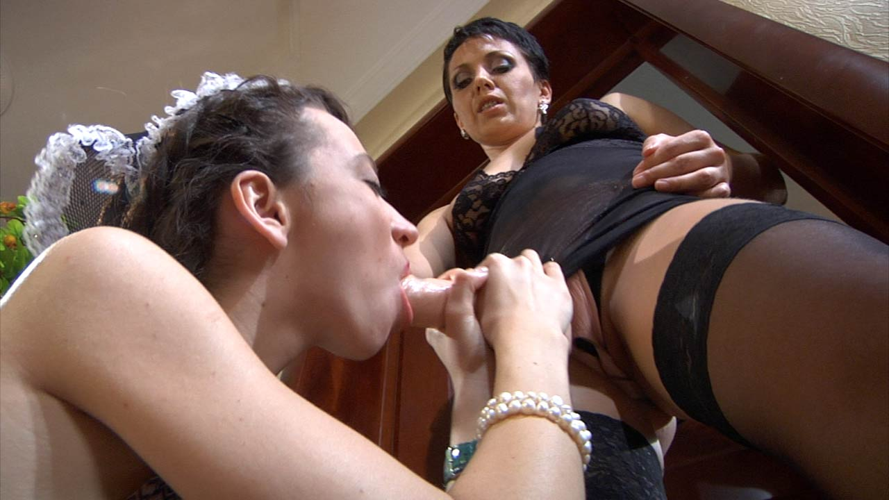 Horny young maid gets strapon fucked by a stockinged older lesbo
