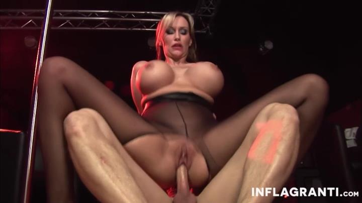 German lady Sandra Star gets her nyloned toes licked for a boob-shaking thru pantyhose fuck