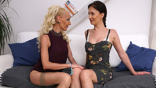 Young Polina gives in to stockinged mature lesbo Yelena Vera eager for some pussy licks and a rimjob
