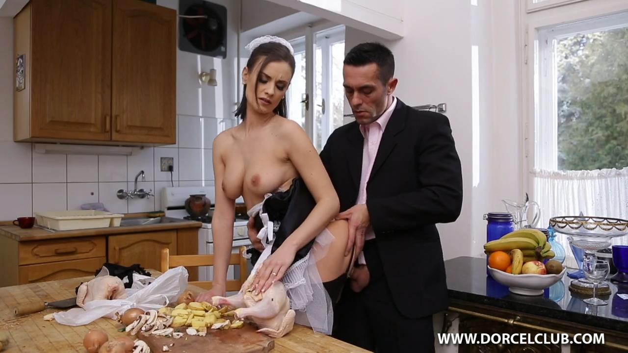 Busty French maid in seamed nylons Claire Castel takes on some hard meat instead of cooking dinner