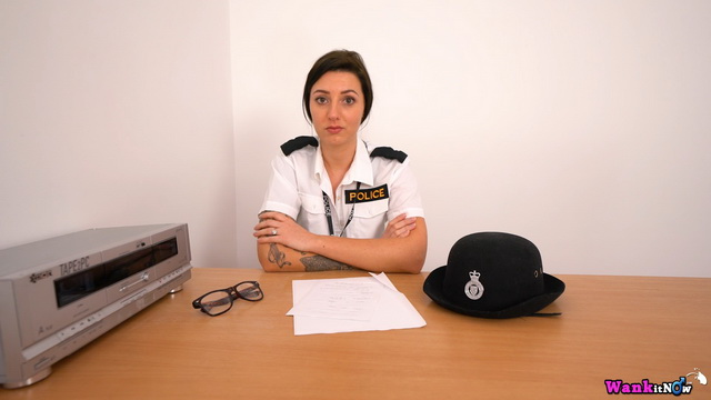 UK police officer Violet gives wanking instructions stripping to black holdups
