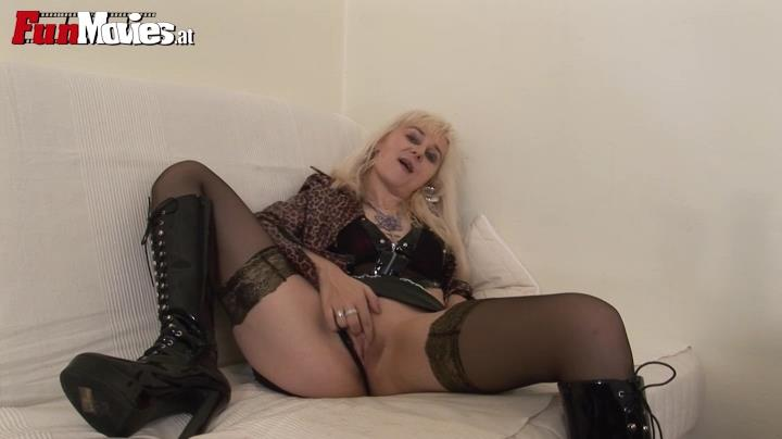 Austrian blonde amateur in luxury stockings uses a giant dildo toy