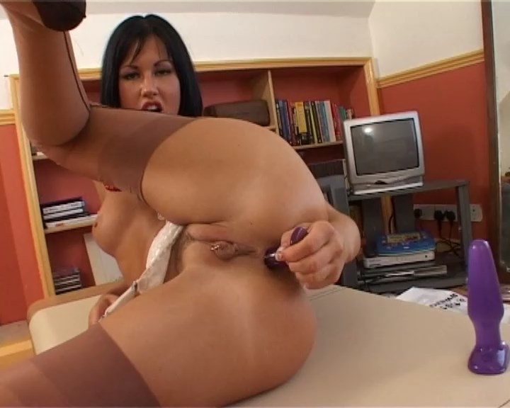 Wanton Brit Lolly Badcock double fucks herself in her classy tan RHT stockings