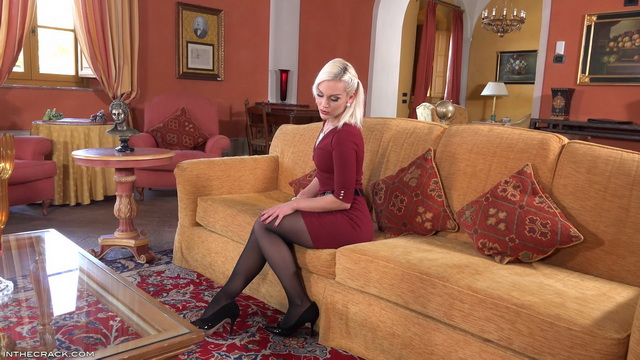 Ass toying blonde Cecilia Scott lets her crack wink at you thru black pantyhose