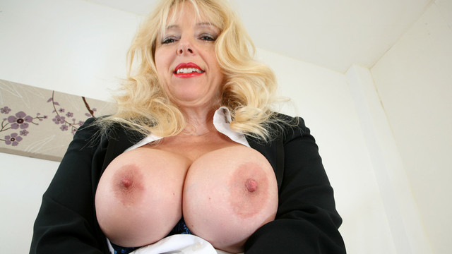 British mature office milf Lucy Gresty fucks her cock starved pussy at work