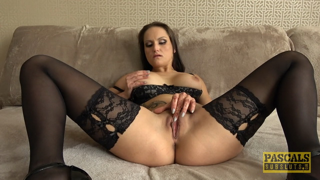 Hot brunette Barbara Bieber masturbates in black lingerie and stockings