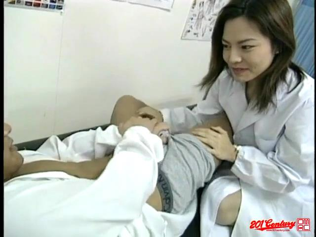 Slutty Asian school doctor in sexy gartered stockings seduces a male student