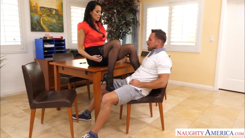 Hot tax accountant Reagan Foxx demands a fuck in her FF stockings & spike heels