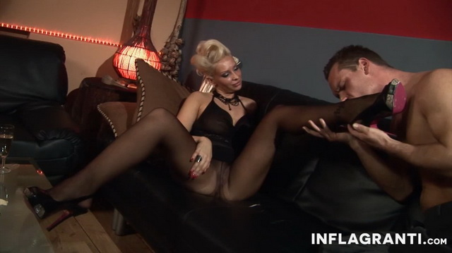 Hot blonde Stella Styles fondles her pantyhosed legs and pussy before some foot worship and raw bang