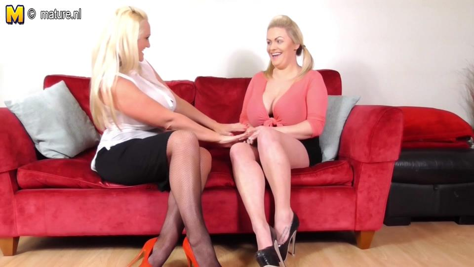 Stockinged bigtitted old and young UK lesbians Sarah Daniel and Victoria Summers lick toes and slits