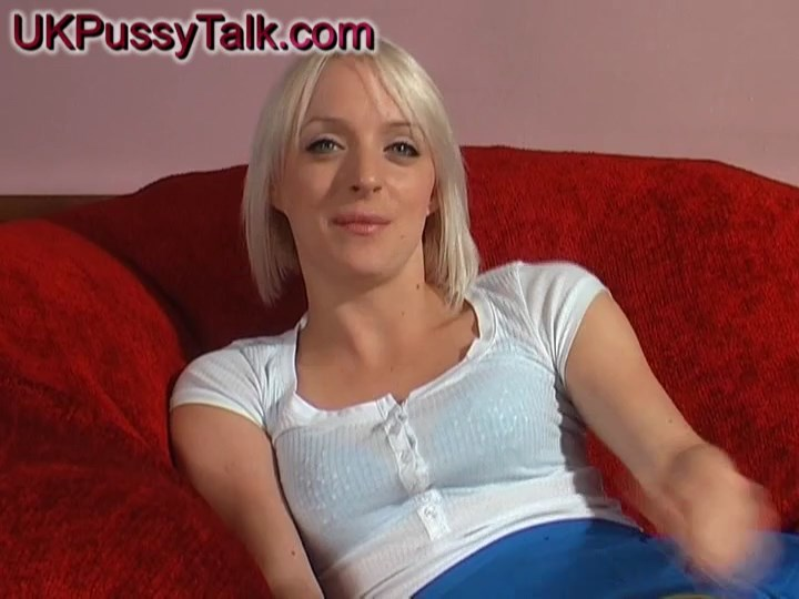 UK blonde porn minx Paige Fox does sex talks in her blue thong and leopard flats