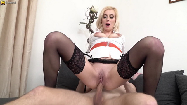 Hot blonde MILF Kaylea having fun with a guy way younger than her