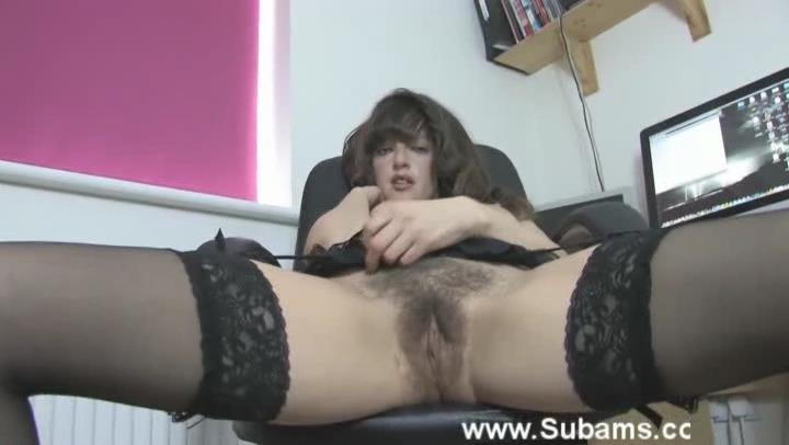 Hairy English secretary Kate Anne gets dirty in her expensive lingerie and stockings in the office