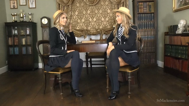 Poppy Spink aka Amy Rose & Natalia Forrest strip to school nylons, hats & heels