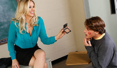 Caring teacher Julia Ann in contrast seam nylons seduces a cute freshman