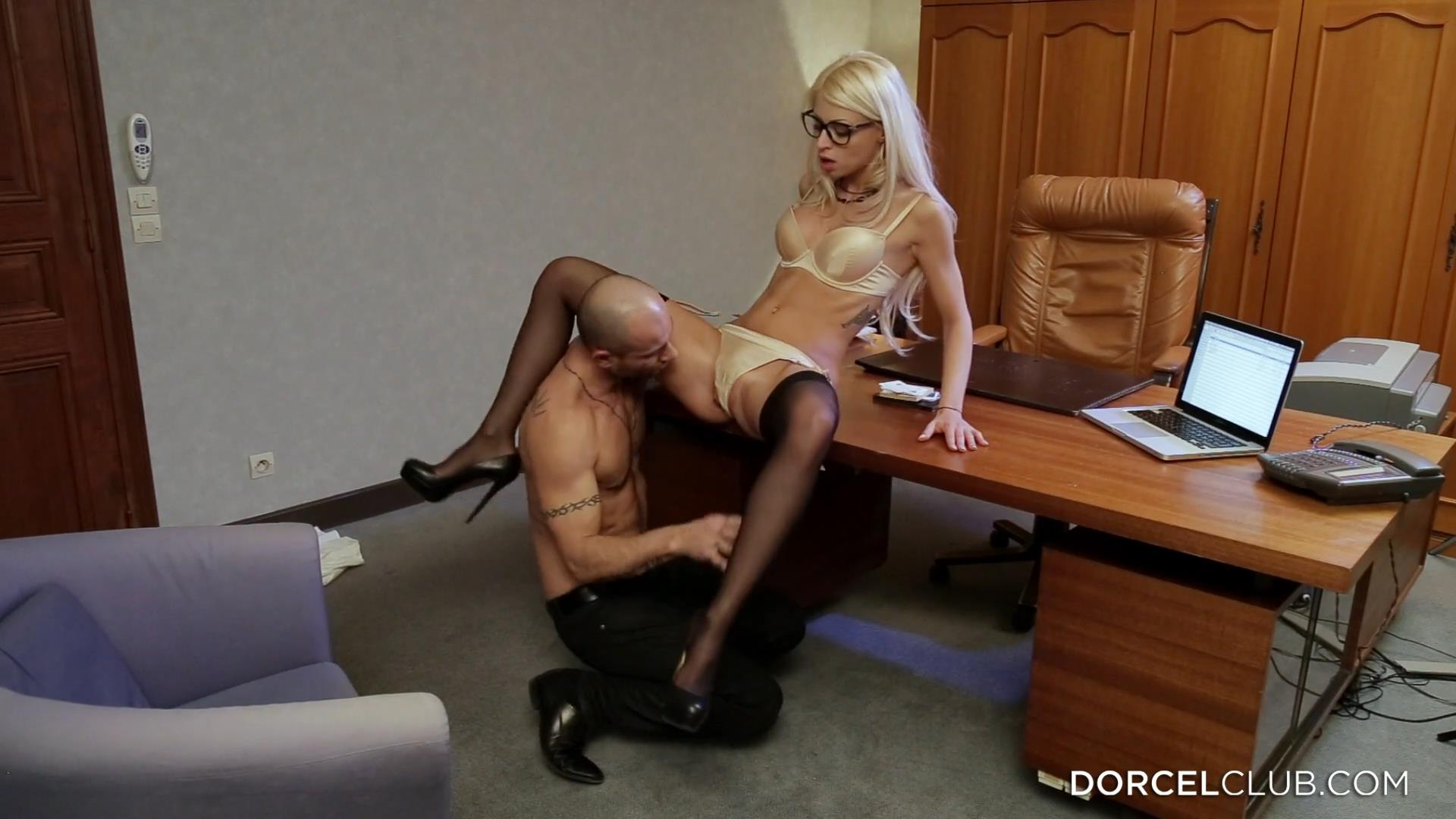 Black-stockinged French blonde Chloe Lacourt takes it up the brown right in the office