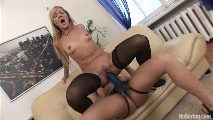 Black-stockinged blonde goes lesbo taking two monster-sized strapon cocks into her pussy and ass