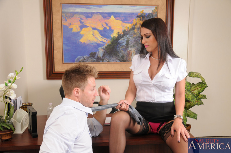 Black-stockinged bossy babe J Love gets licked and dicked in the office