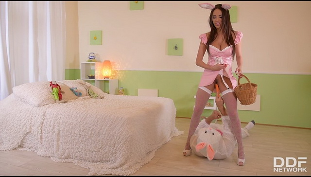 French milf Anissa Kate dressed like a bunny complete with white nylons & heels gets a cosplay fuck