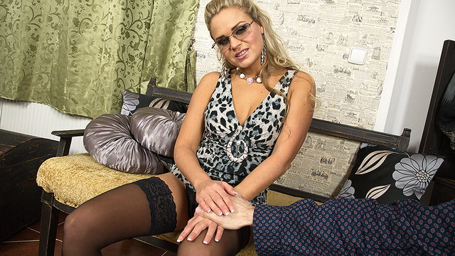 Smoking hot milf Barra Brass in a leopard dress and black lacy holdups going for a POV style fuck