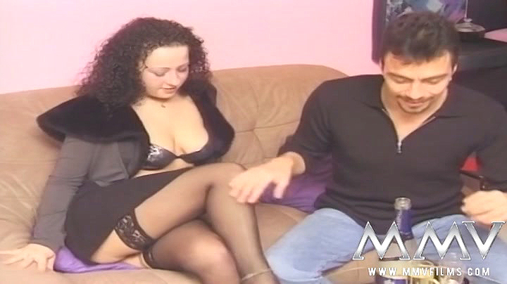 Raunchy German porn with a curvaceous brunette in black holdups