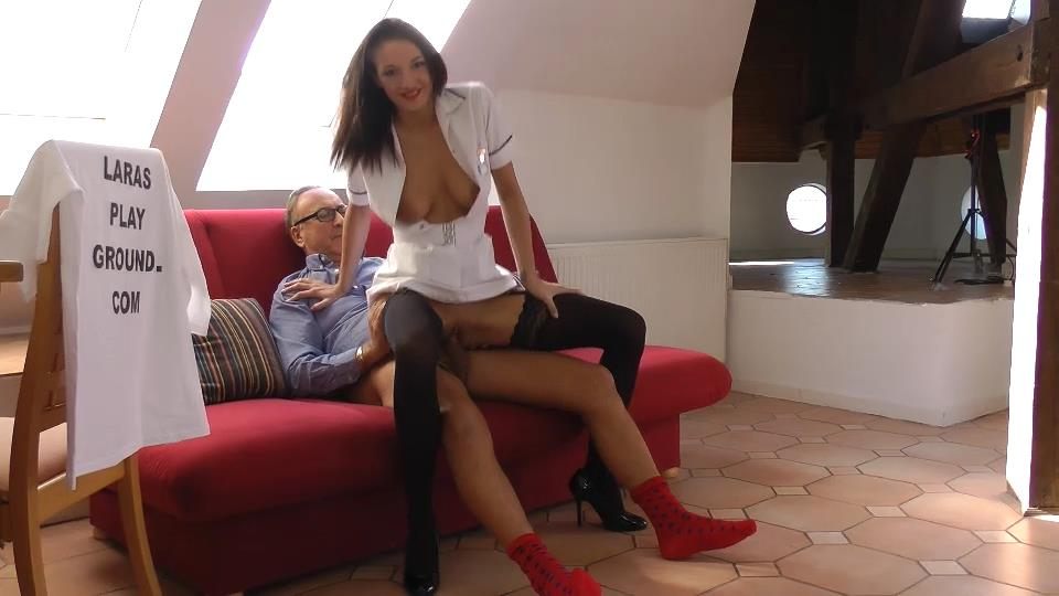 Clad as a nurse Felicia gets fucked by old Jim in her sexy lace-up stockings and girdle
