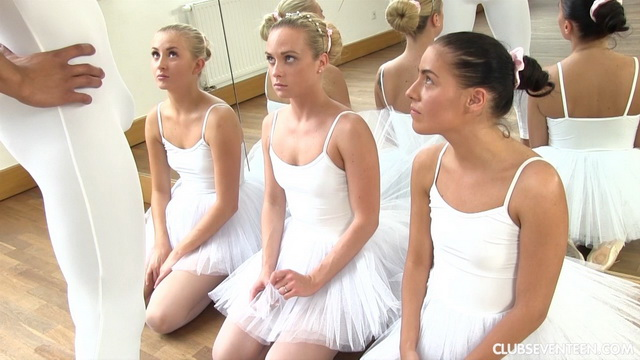 Ballerinas Evelyn Dellai, Cayla A and Vinna Reed fucked by a teacher in their white tights and tutus