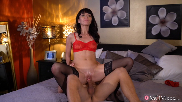 Slender Ukrainian mom Sasha Colibri goes for a ride in dark nylons & spike heels