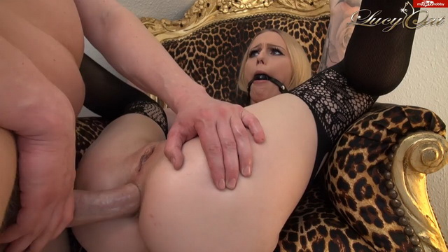 German babe Lucy Cat gets gagged in her sexy bodystocking for a hard anal bang