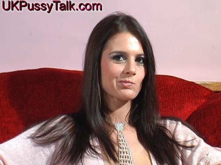 Slim yet busty Brit Karina Currie opens her slim legs and wet labia for a dildo during her interview
