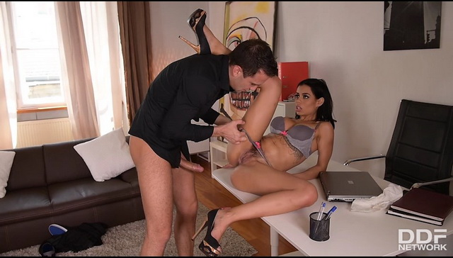 Bootylicious and busty Colombian cleaning lady Canela Skin fucks her boss in her fine grey lingerie