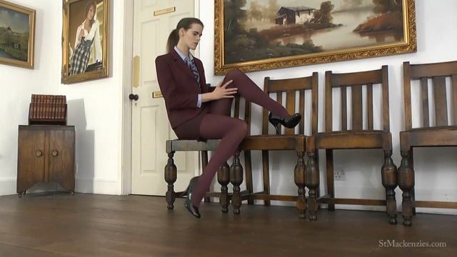 Coed Melissa Thompson crosses long legs in her burgundy uniform, undies & tights