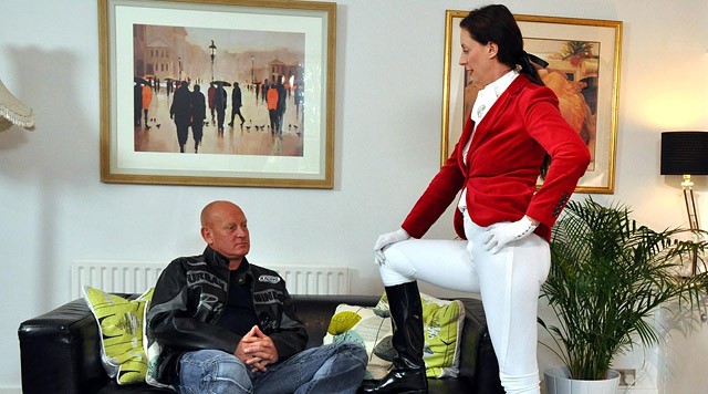British equestrienne in crotchless white leggings riding a stud