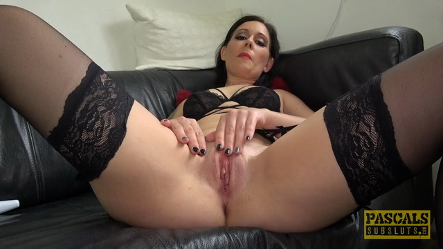 Sexy milf Belle O\'Hara enjoys sex toys in her black lingerie and stockings
