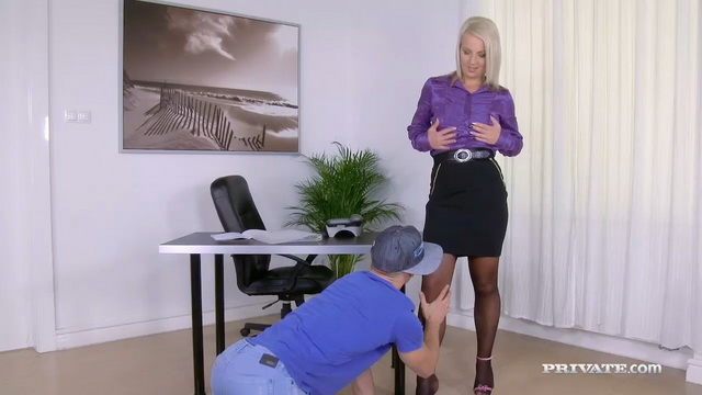 Blonde milf sec Luci Angel takes a hard bang and facial from a hung toy boy in her undies and nylons