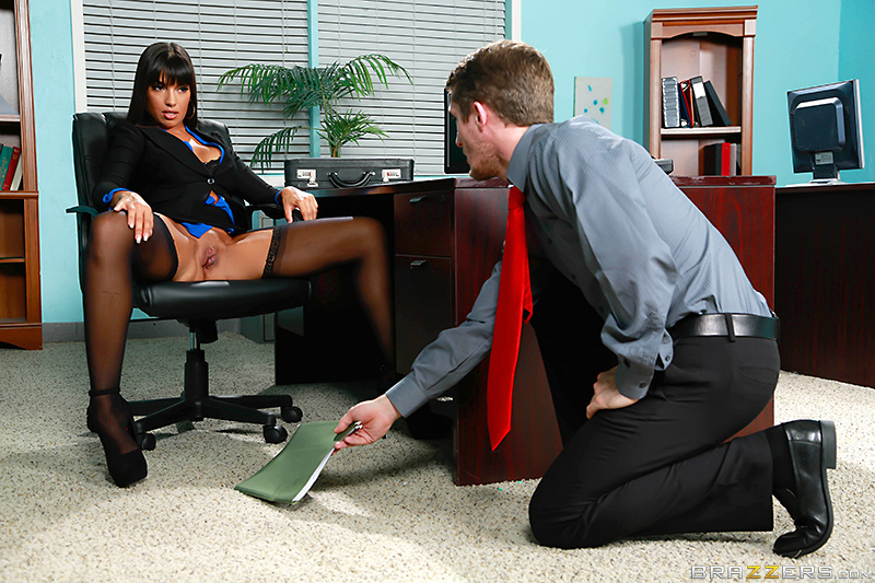 Freaky lady-boss Mercedes Carrera in black suspender nylons seduces the boyfriend of her daughter