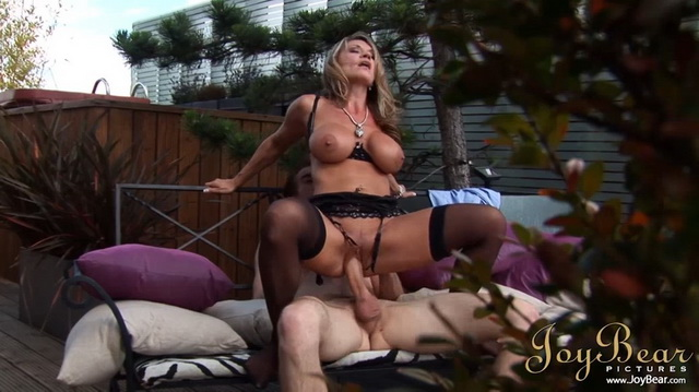 Busty Aleena Jonez gets her legs in black FF nylons worshipped in the sun before going for a bang