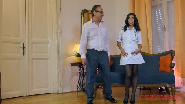 Latina nurse Frida Sante wears her short robe and a pair of seamed stockings to handle an old dick