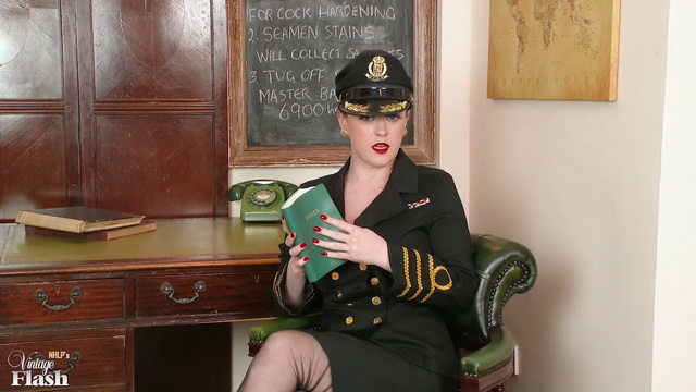 British wanking officer Brook Little wears uniform with vintage undies & nylons
