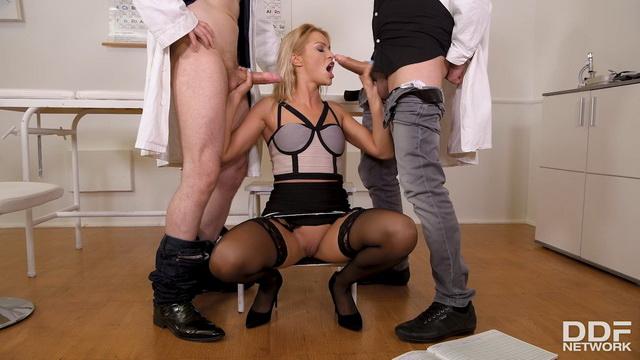 Black-stockinged patient Cherry Kiss gets extra expertise and DP from two docs