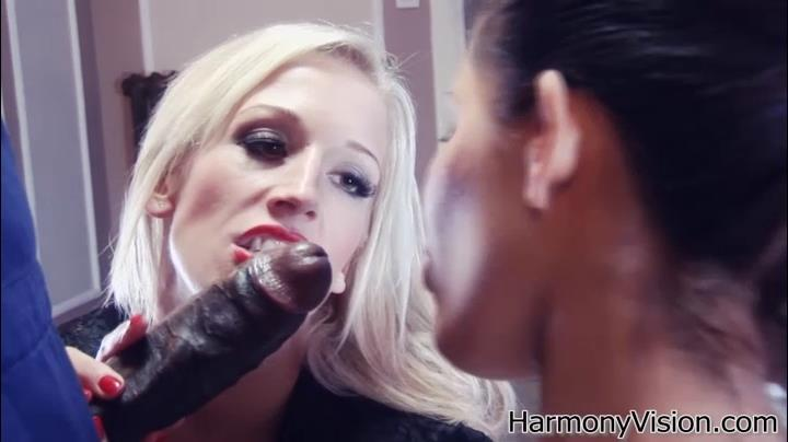 Two lewd British dames Rebecca More and Scarlett March get banged by a black stud