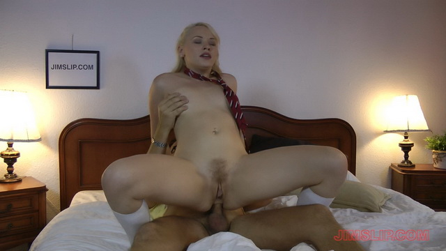 Slutty blonde schoolgirl Lola Taylor in white lacy panties and nylons jumps on old meat after 69ing
