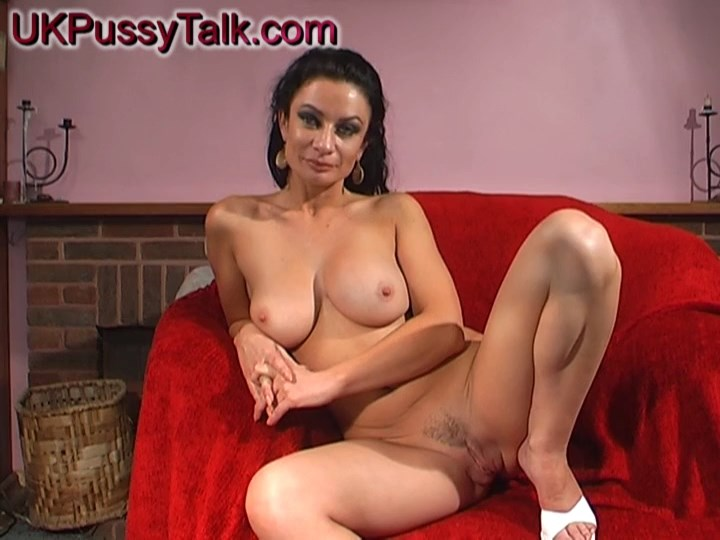 Brunette Brit Avalon Kassani gives a sex interview boasting her big tits and legs in white stilettos