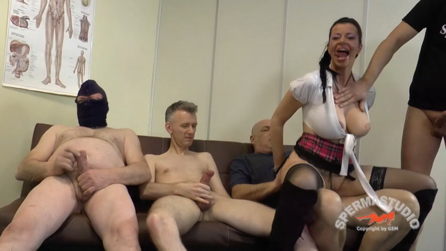 Busty dirty German milf Dacada in school uniform, stockings and boots goes for a gangbang fuck-fest