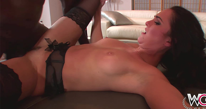 gets her fix of big black meat wearing her luscious gartered stockings