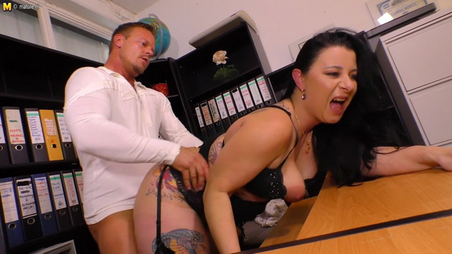 German mature Bonny Devil fucking and sucking at the office