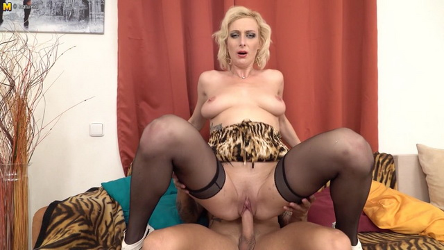 Sexy blonde milf Kaylea in black stockings fucking and sucking a hard cock