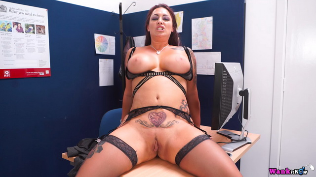Bossy Brit Roxy R. shows her luscious curves, bondage undies & nylons for a wank