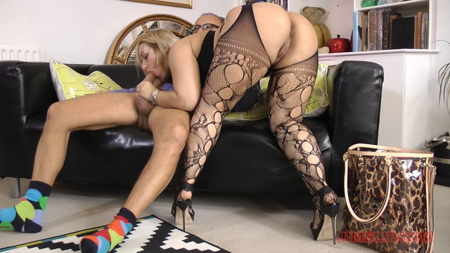 Buxom blonde Brit Ashley Rider jumps on the old prick in her lace pattern suspender tights and heels