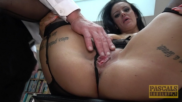 Tattooed Scarlett Star gets brutalized and slammed hard in stockings and garters